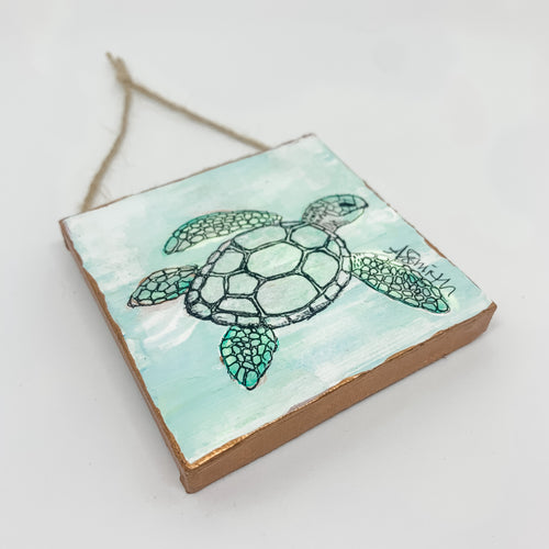 Sea Turtle Mini Canvas Ornament 1