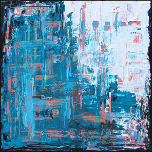 Gridlock 8x8 Abstract Acrylic Painting by Andrea Smith