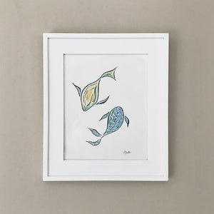 "Two Fish 8x10"" Watercolor Painting - Original Art by Andrea Smith"