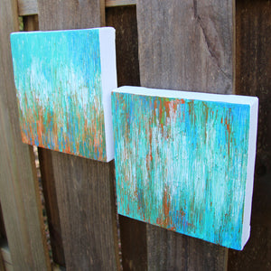 Coastal Blend I & II Abstract Acrylic Paintings by Andrea Smith