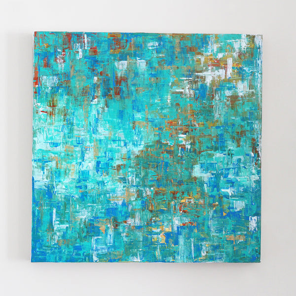 "Modern Madras 20x20"" Abstract Painting - Original Art by Andrea Smith"