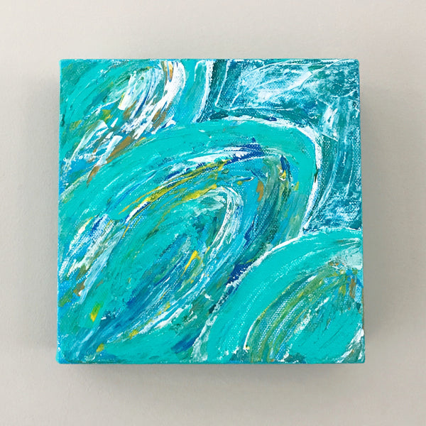Tropical Leaves I, Acrylic Mini Painting by Andrea Smith