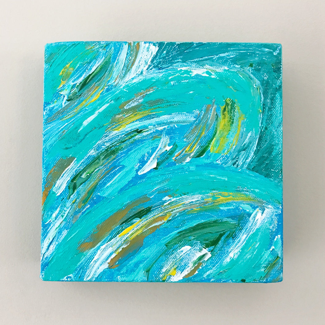 Tropical Leaves II, Acrylic Mini Painting by Andrea Smith