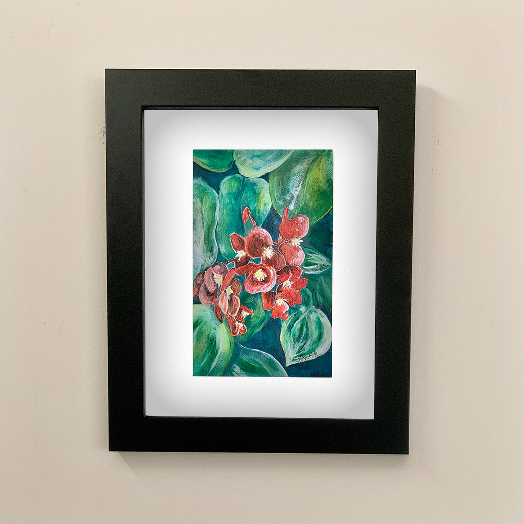 Begonia Cucullata_(Wax Begonia) Acrylic Painting - Original Art by Andrea Smith
