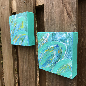 Tropical Leaves I & II, Acrylic Mini Painting by Andrea Smith
