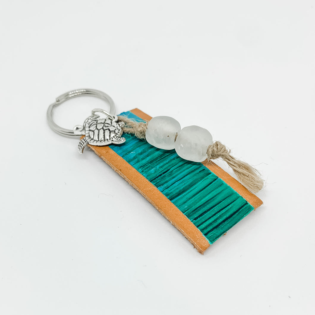 Cabana Stripe Handpainted Leather Keychain 21