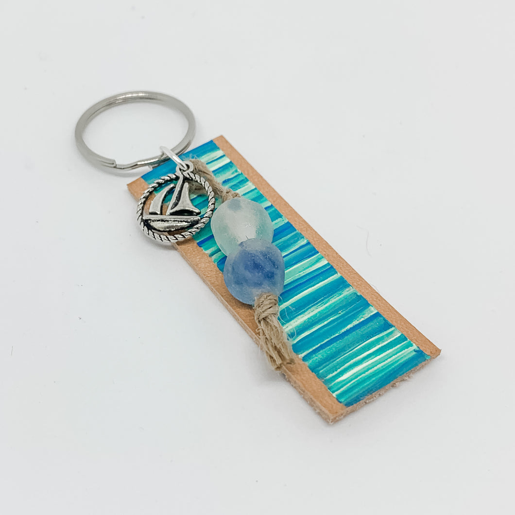 Cabana Stripe Handpainted Leather Keychain 39