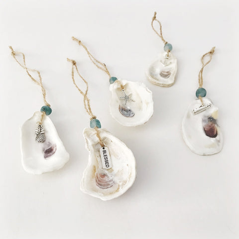 Handmade Oyster Shell Charm Ornaments | Coastal Decor by 7th & Palm