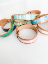 Load image into Gallery viewer, Cabana Stripe Handpainted Leather Bracelet 3