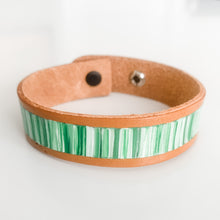 Load image into Gallery viewer, Cabana Stripe Handpainted Leather Bracelet 7