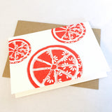 Citrus Bloom Note Card in Coral Red