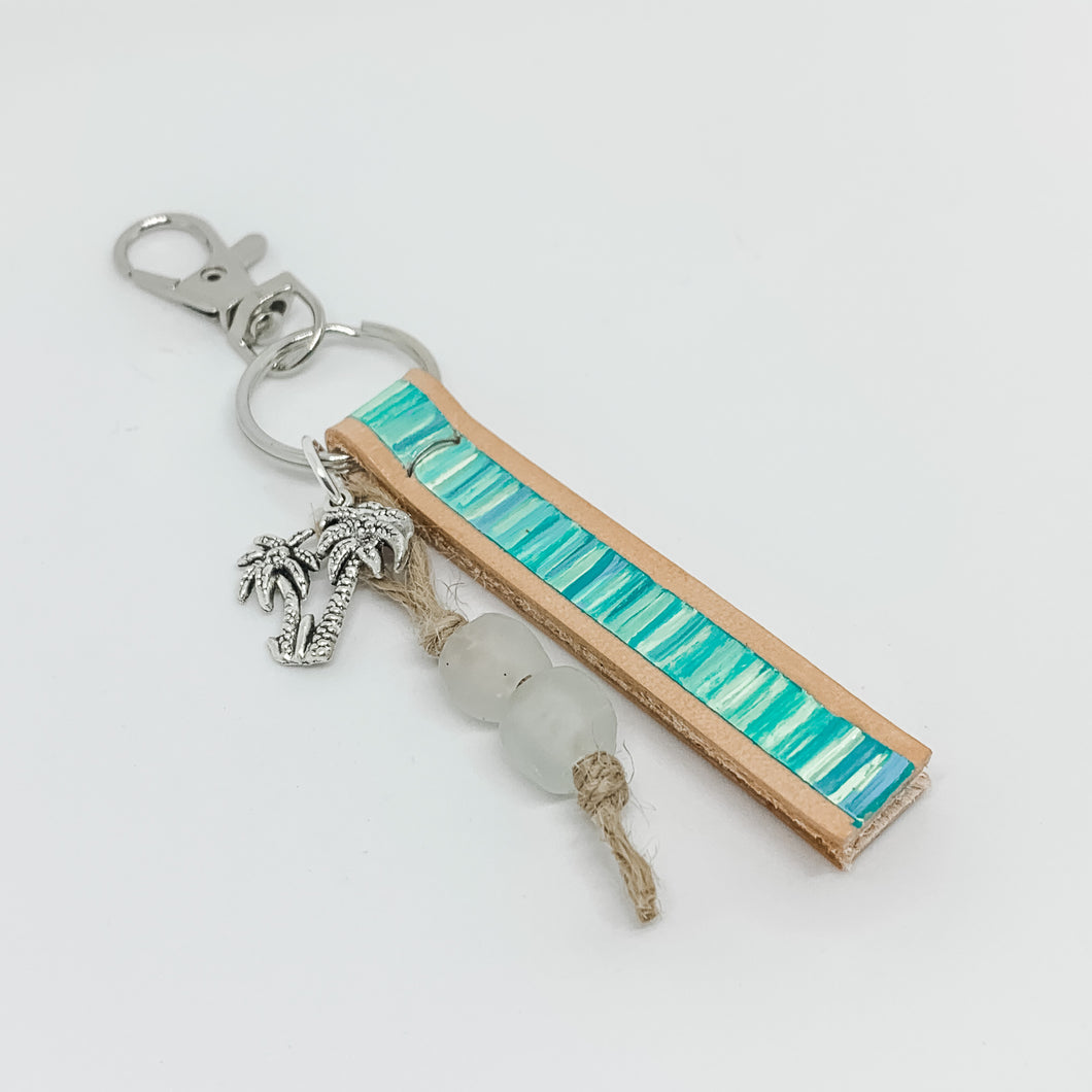 Cabana Stripe Handpainted Leather Keychain with Bag Clip 23