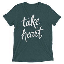 Load image into Gallery viewer, Emerald Triblend Take Heart T-Shirt