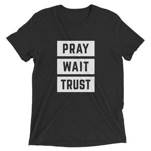 Charcoal-Black Triblend Pray Wait Trust T-Shirt