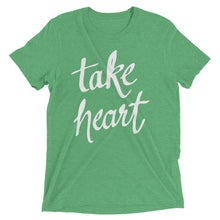 Load image into Gallery viewer, Green Triblend Take Heart T-Shirt