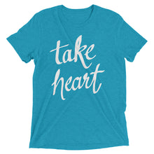 Load image into Gallery viewer, Aqua Triblend Take Heart T-Shirt
