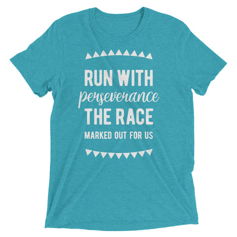Teal Triblend Run the Race T-Shirt