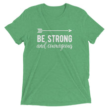 Load image into Gallery viewer, Green Triblend Be Strong & Courageous T-Shirt