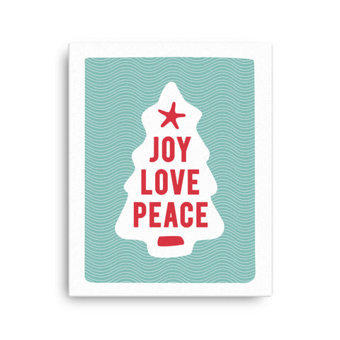 Joy Love Peace Holiday Canvas Print by 7th & Palm