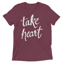 Load image into Gallery viewer, Maroon Triblend Take Heart T-Shirt