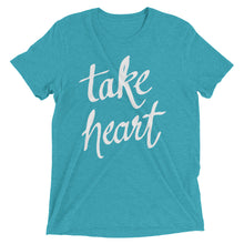 Load image into Gallery viewer, Teal Triblend Take Heart T-Shirt