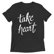 Load image into Gallery viewer, Charcoal-Black Triblend Take Heart T-Shirt