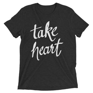 Charcoal-Black Triblend Take Heart T-Shirt