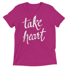 Load image into Gallery viewer, Berry Triblend Take Heart T-Shirt