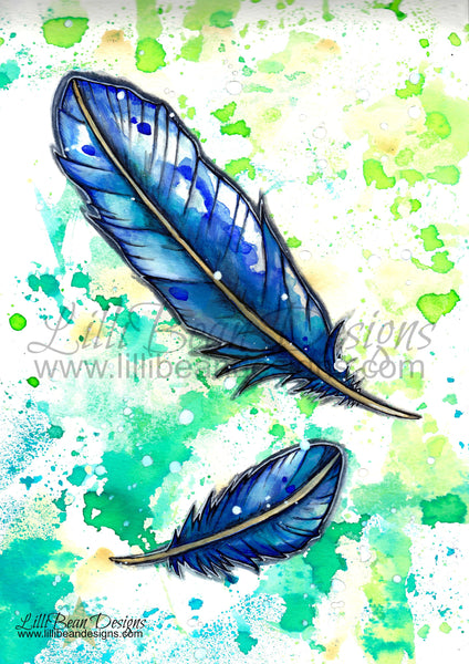 Blue Feathers - Art Print