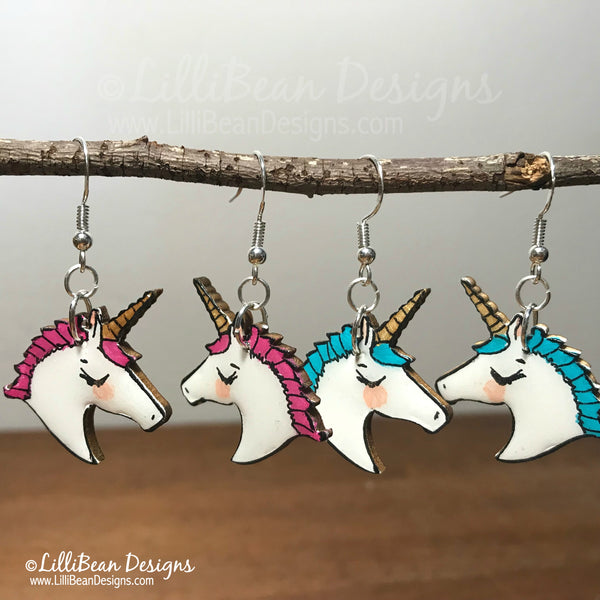 Hand Painted Unicorn Earrings