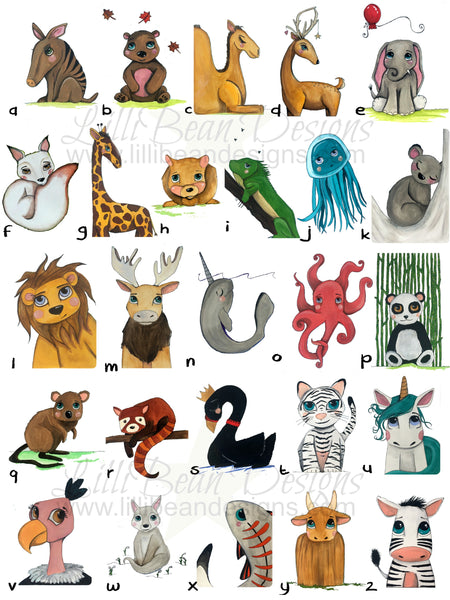 Whimsical Creatures Alphabet Poster