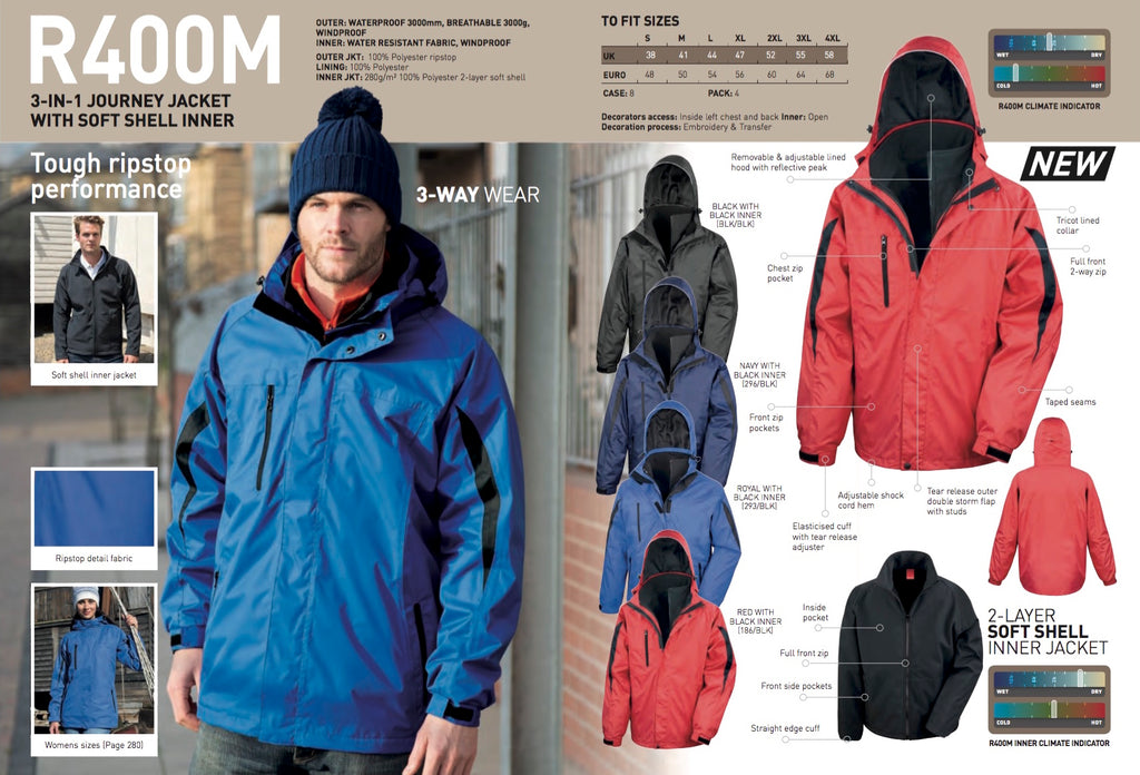 R400M Result 3-in-1 Journey Jacket with Softshell Inner