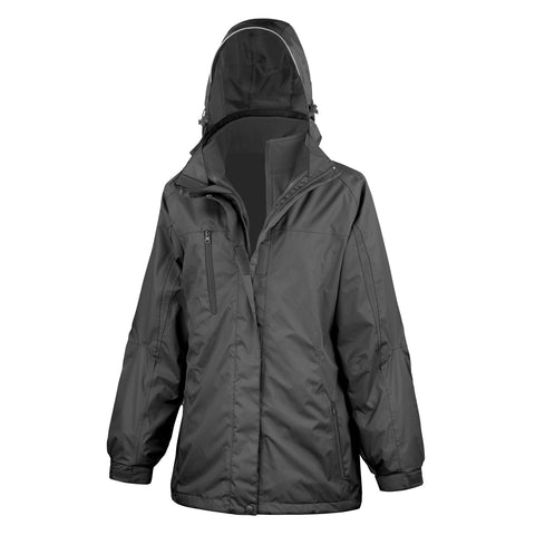 R400F Result Women's 3-in-1 Journey Jacket with Softshell Inner - Black