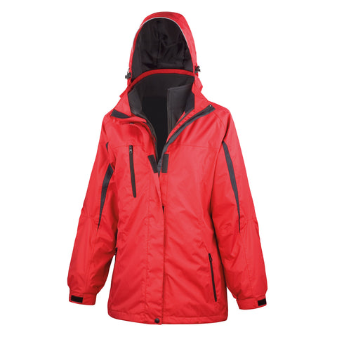 R400F Result Women's 3-in-1 Journey Jacket with Softshell Inner - Red / Black