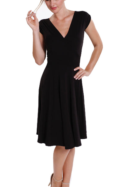 Black Bamboo Wrap Dress