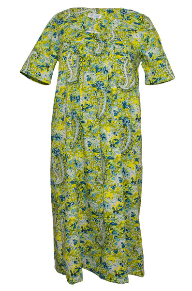 Nightie & Brunch Dress - Green & Yellow Paisley
