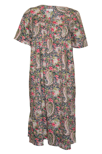 Nightie & Brunch Dress - Pink & Dark Grey Paisley