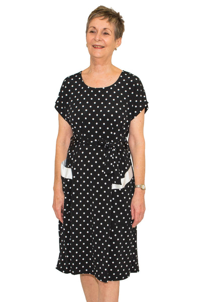 Lucille Black Polka Dots Dress - Adaptive Australian Made Clothing