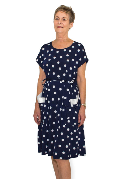 Navy Polka Dot Dress - Adaptive Clothing