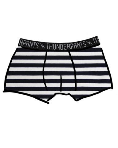 Men's Boxer Brief Black and White Stripes