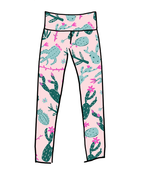 Drawing of Thunderpants organic cotton High Rise Extra Long Length Leggings in a pink and green cactus print.