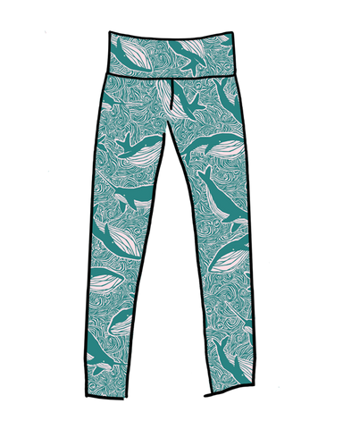 Women's High Rise Extra Long Leggings Marine Whales