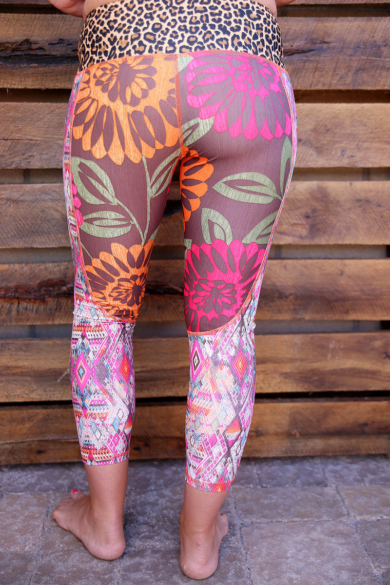 Fuschia Dahlia Capri Legging rear