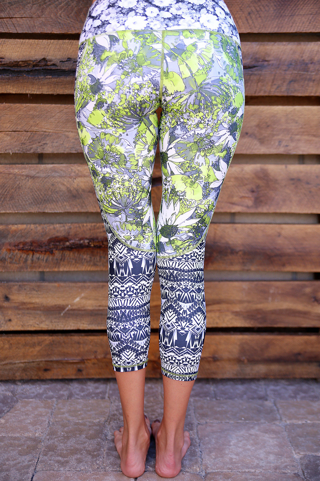 Green Aster Capri Legging back