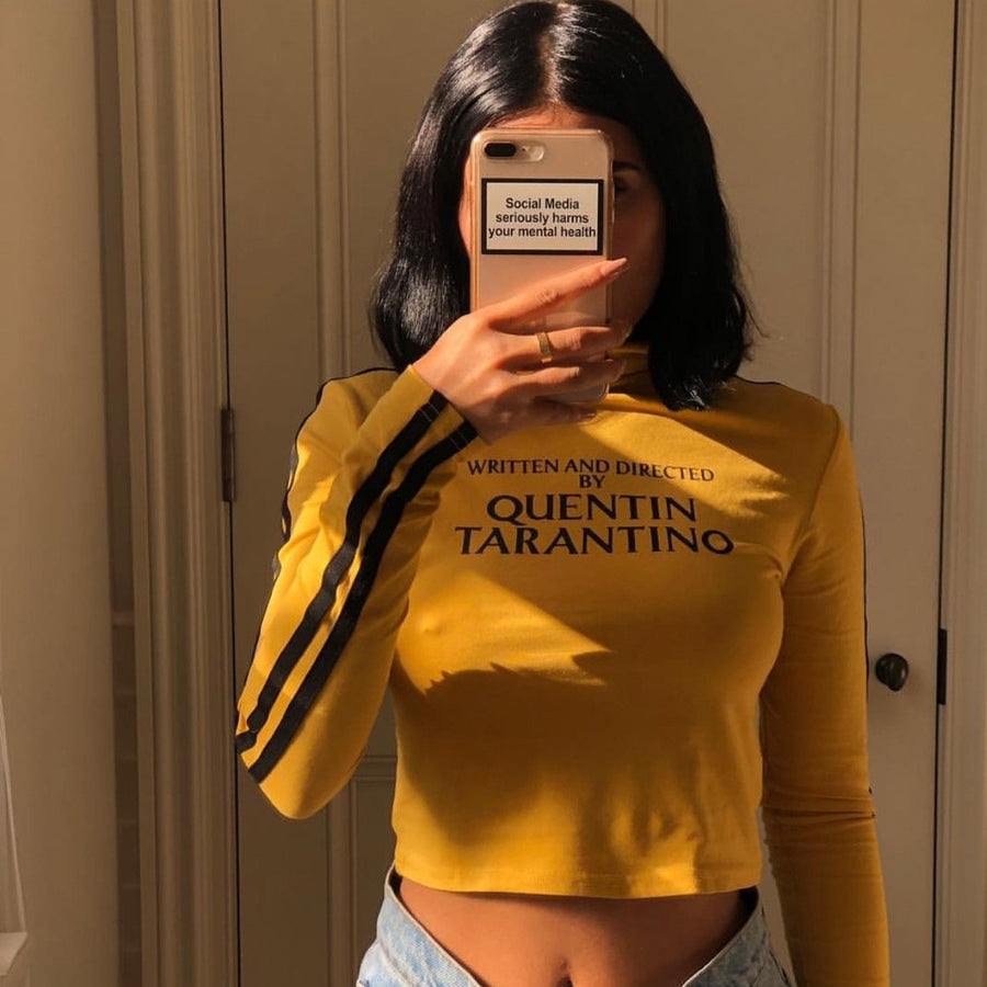 """QUENTIN TARANTINO"" LONG SLEEVE CROP TOP"