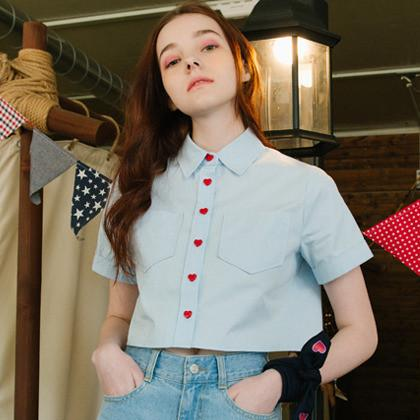 """HEART BUTTON-UP"" COLLARED SHIRTS"