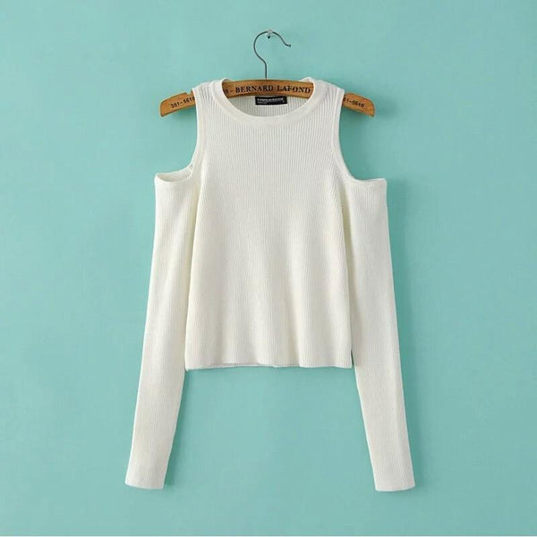 """SHOULDER-LESS"" LONG-SLEEVE CROP TOPS"