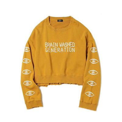 """BRAIN WASHED GENERATION"" CROPPED SWEATER"