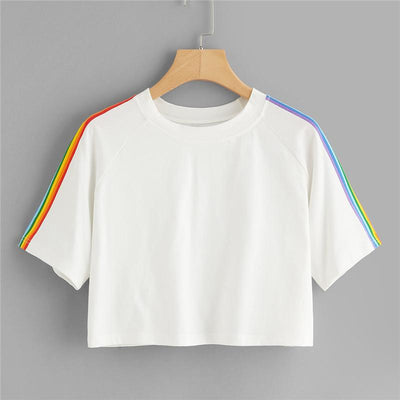 """RAINBOW STRIPED SLEEVES"" CROPPED SHIRT"