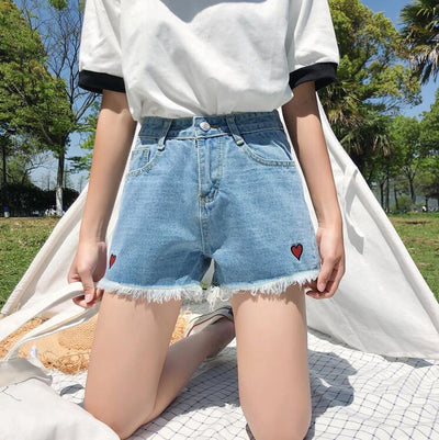 """LOVE YOURSELF"" DENIM SHORTS"
